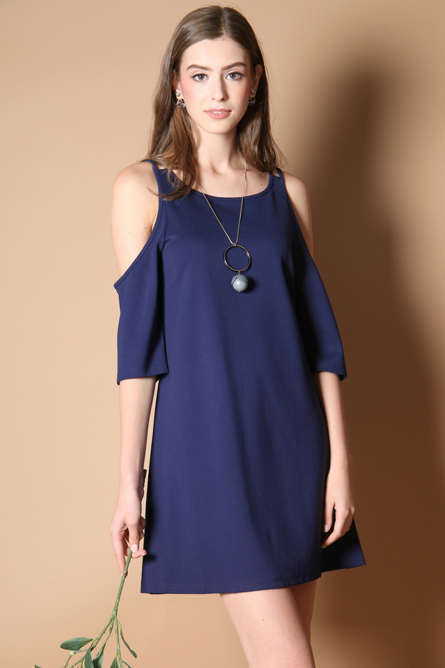 Lovell Cold Shoulder Dress in Navy