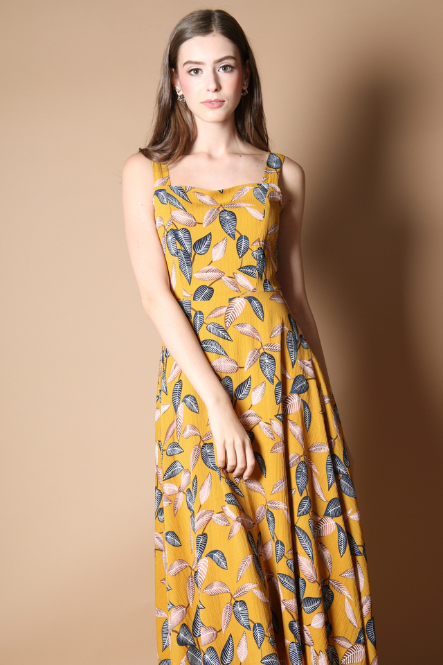 Zoella Leaf Midi Dress in Mustard