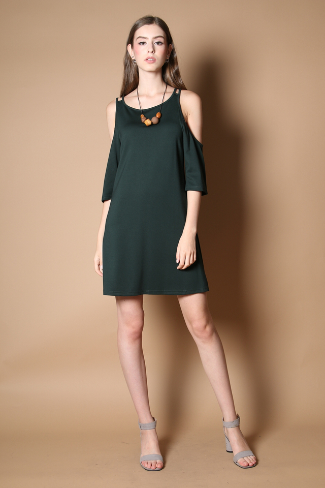 Lovell Cold Shoulder Dress in Forest