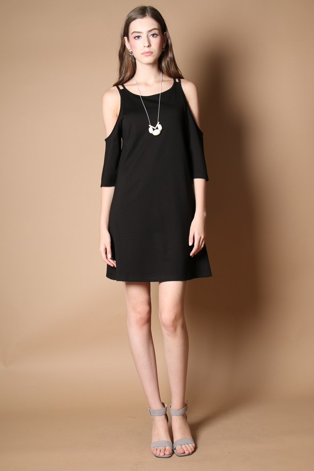 Lovell Cold Shoulder Dress in Black