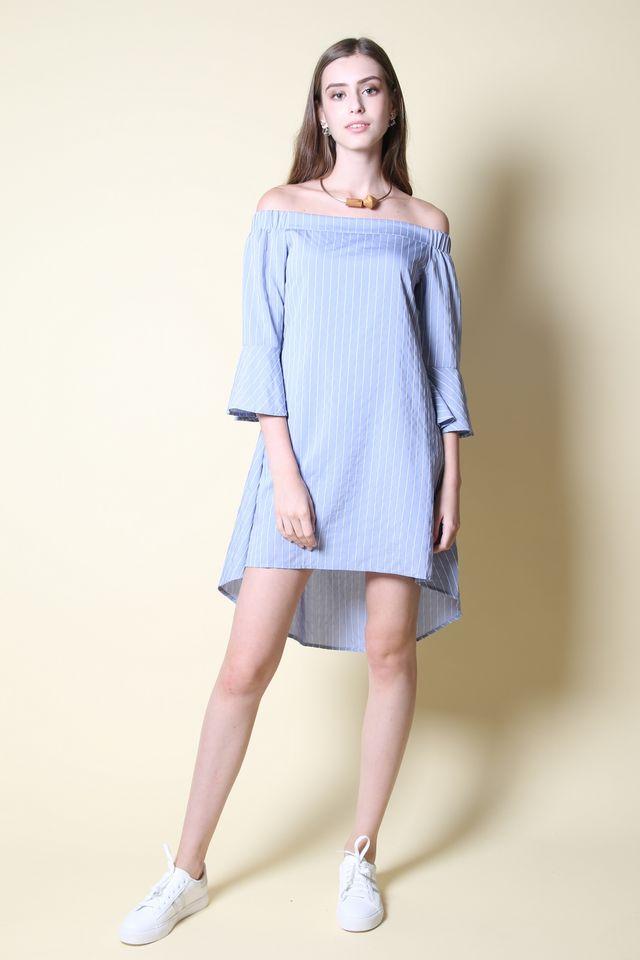 Felice Off Shoulder Dress in Light Blue (L)