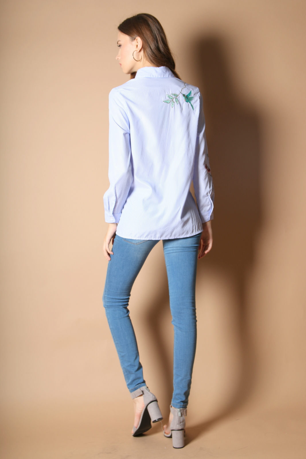 Lorin Pinstripe Embroidery Shirt In Light Blue