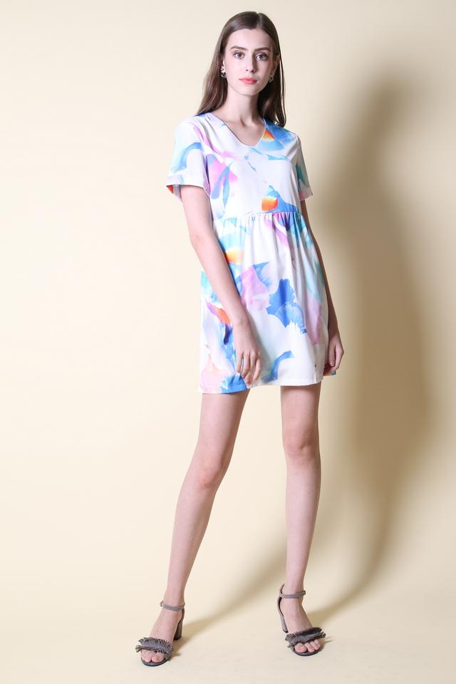 Kyra Watercolour Babydoll Dress in Blue