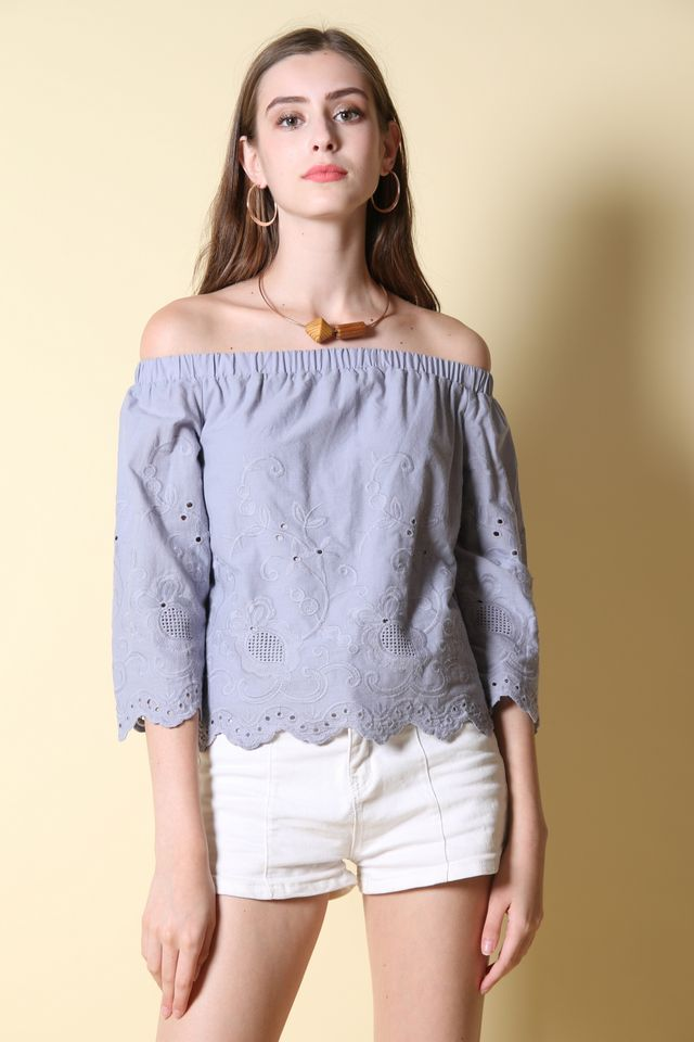 Noleen Off Shoulder Top in Lilac Grey