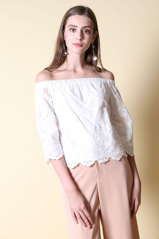 Noleen Off Shoulder Top in White (L)