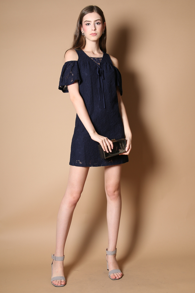 Stelli Cold Shoulder Lace Dress in Navy (XS)
