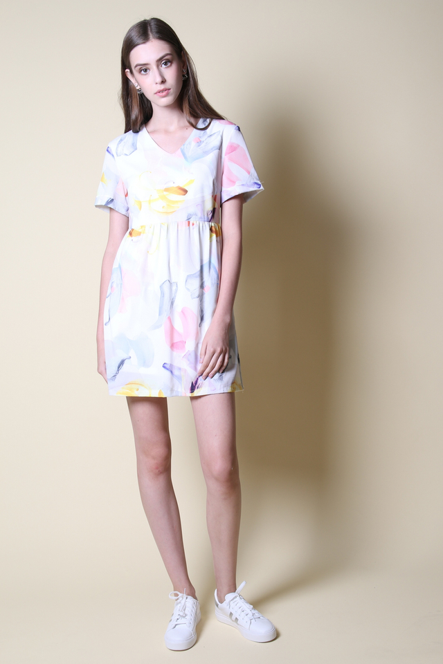 Kyra Watercolour Babydoll Dress in Yellow