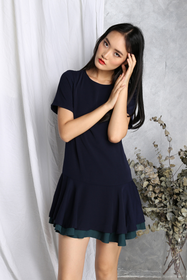 Delilah Drop Waist Tiered Dress in Navy (XS)