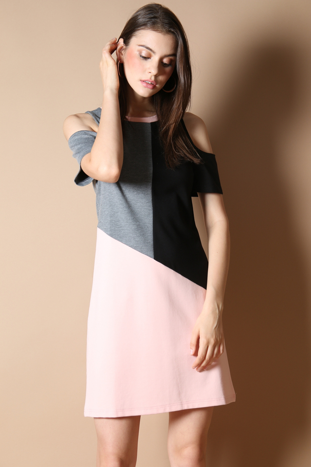 Tiffany Colourblock Dress in Pink