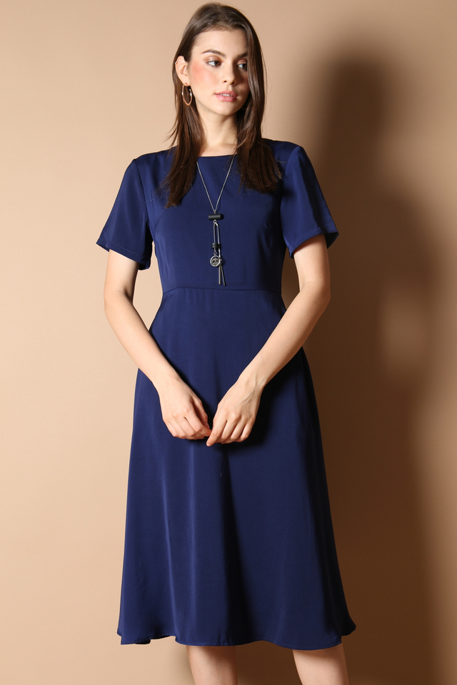Averi Midi Dress in Navy
