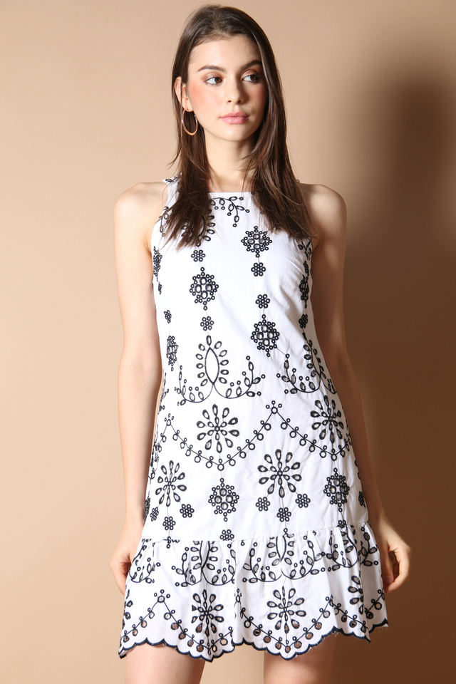 Julia Embroidery Dress in Black
