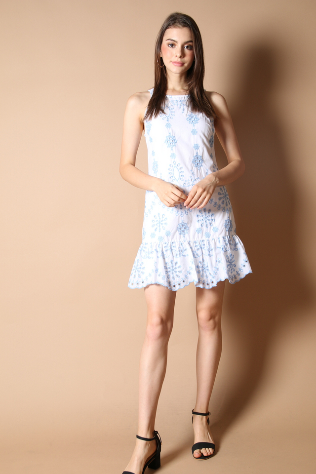 Julia Embroidery Dress in Blue
