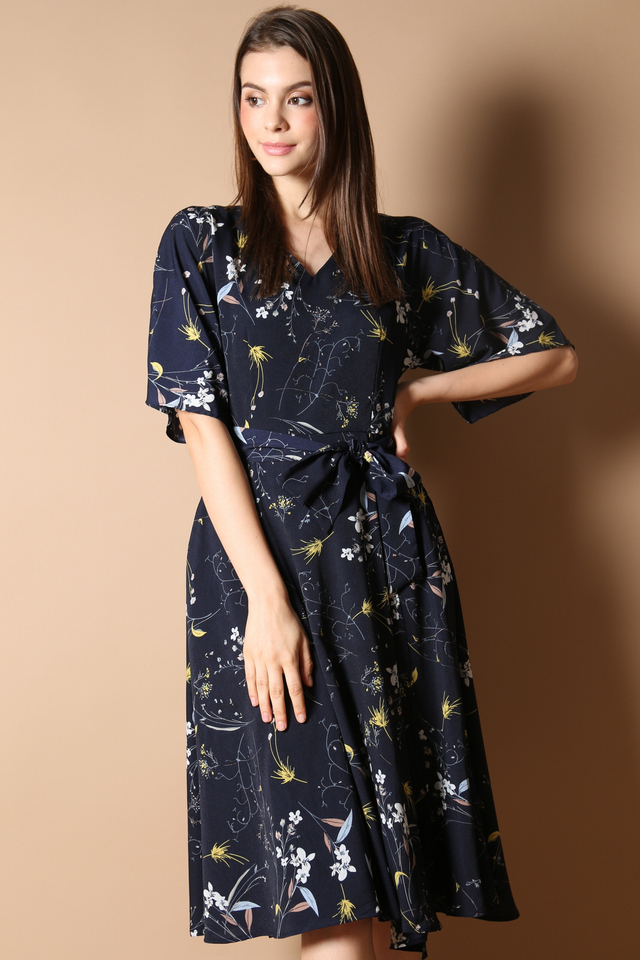 Lydia Floral Midi Dress in Navy