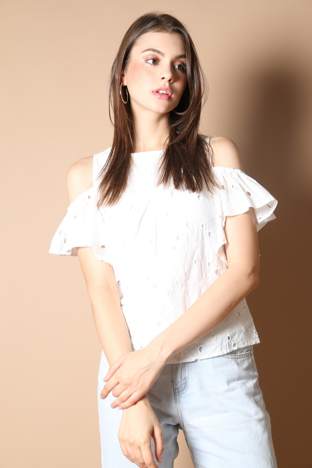 Elise Eyelet Top in White
