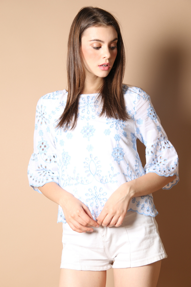 Mila Eyelet Top in Powder Blue