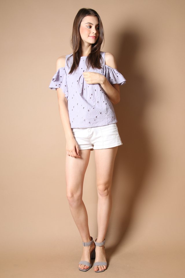 Elise Eyelet Top in Dusty Lilac