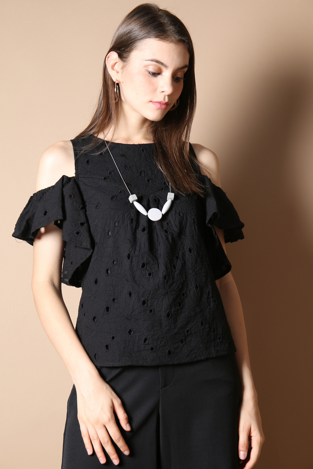 Elise Eyelet Top in Black (S)