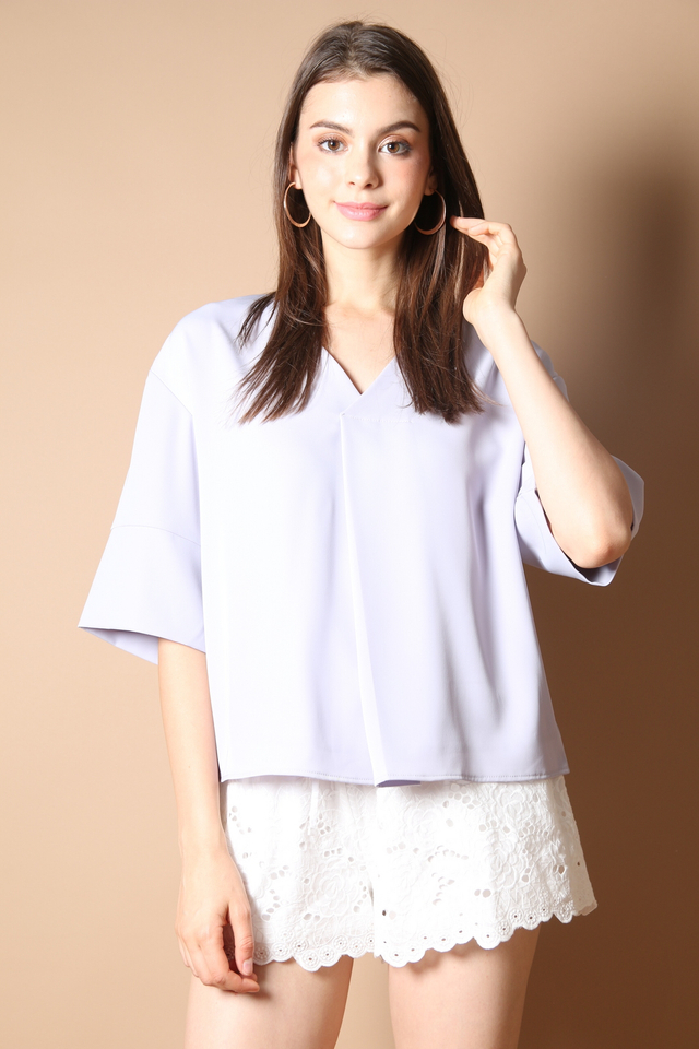 Tegan V Neck Work Blouse in Dusty Lilac