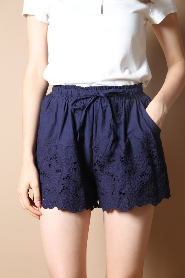 Kaitlyn Crochet Shorts in Navy Blue