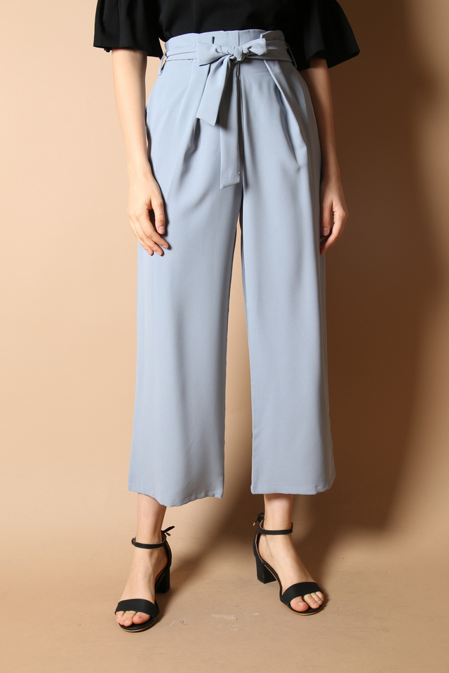 Deena Paperbag Pants in Dusty Blue