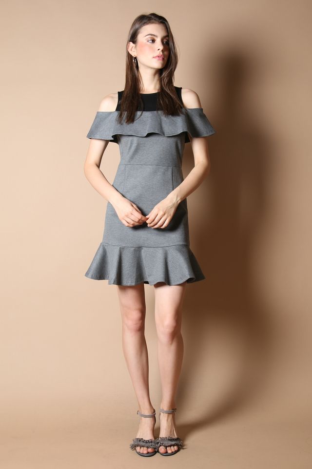 Cordelia Cold Shoulder Dress in Grey