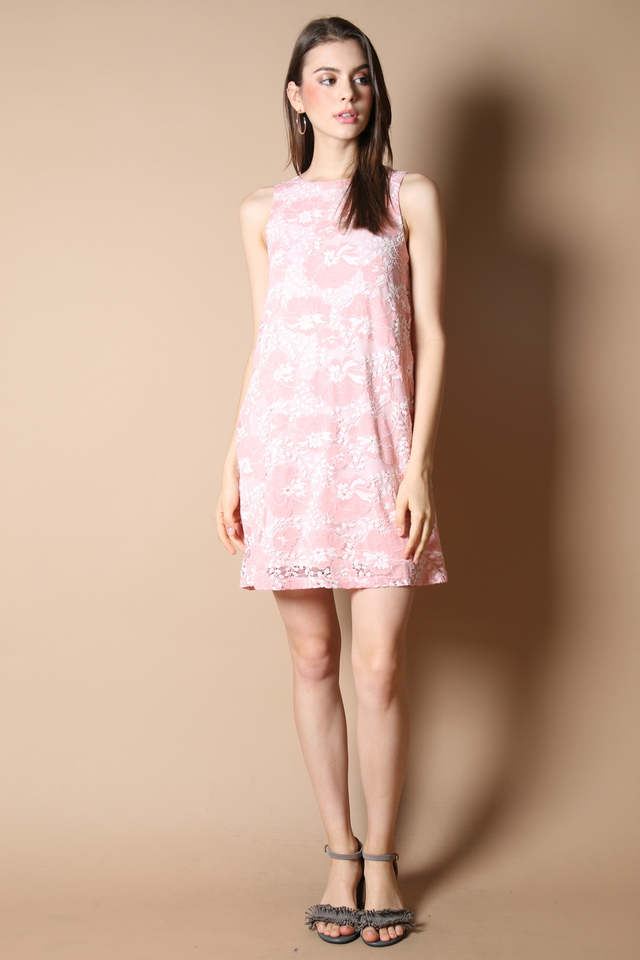 Emilie Lace Flare Dress in Pink