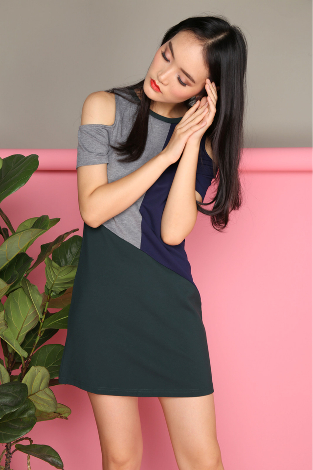 Tiffany Colourblock Dress in Forest