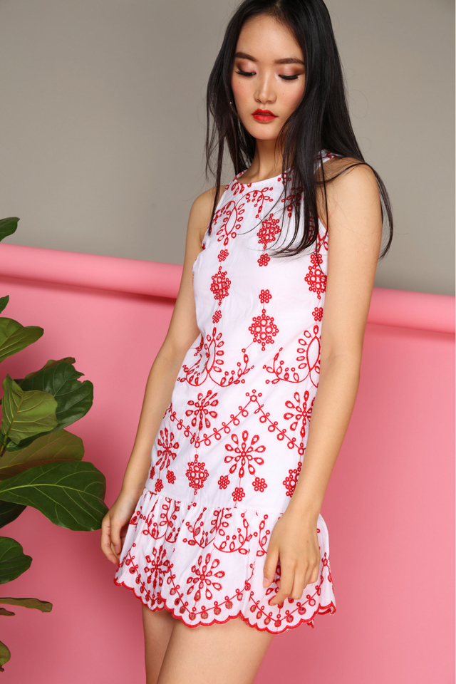 Julia Embroidery Dress in Red