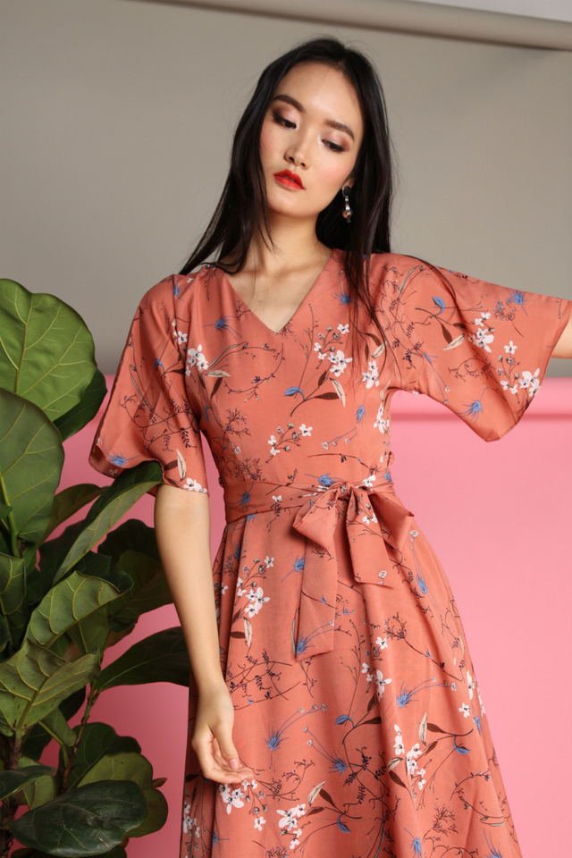 Lydia Floral Midi Dress in Terracotta