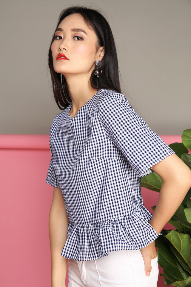 Penelope Plaid Top in Navy