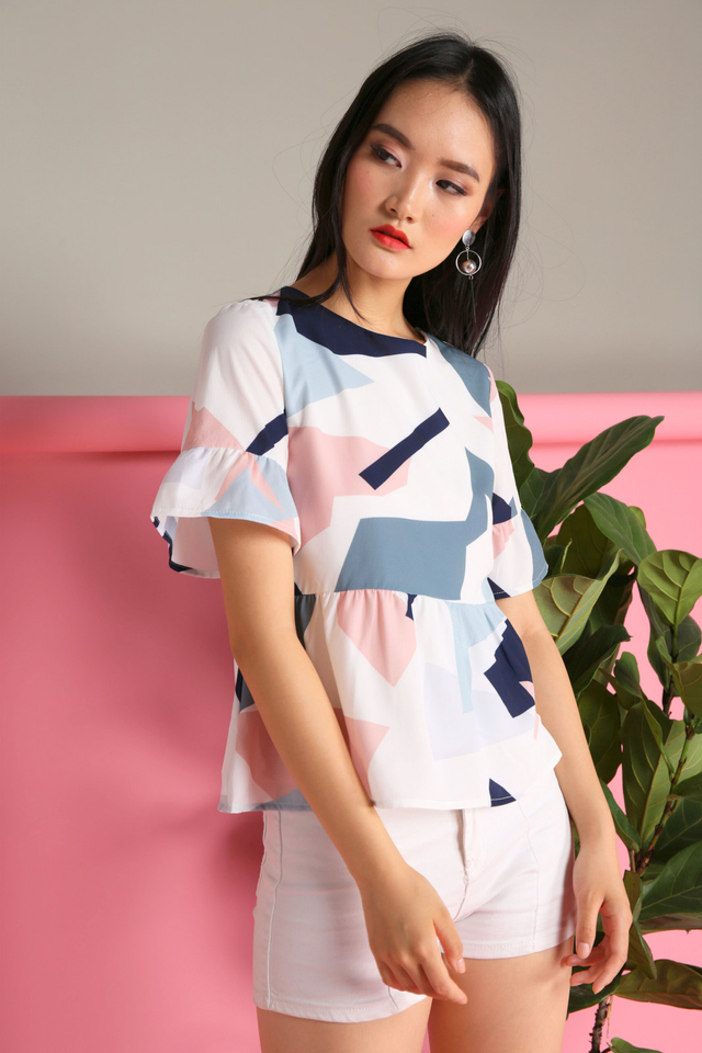 Emma Geometric Top in White