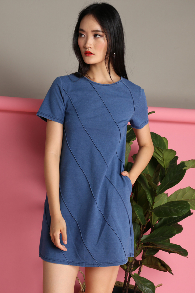 Moana Embossed Denim Dress in Blue