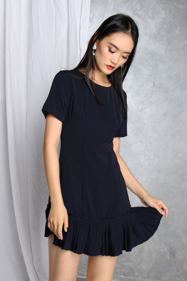 Genevive Pleats Dress in Navy