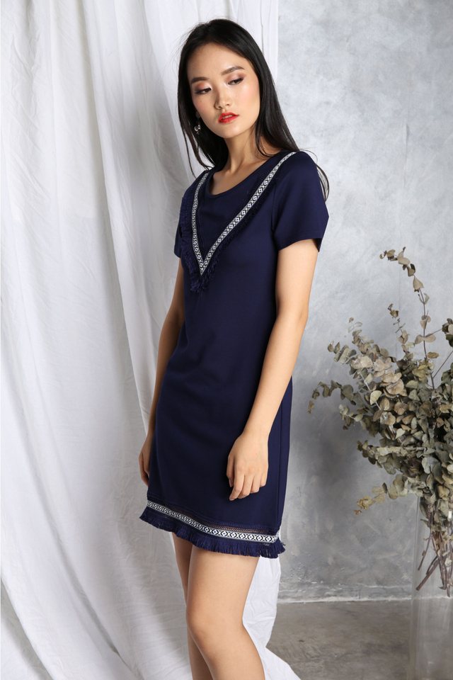 Valentina Boho Fringe Dress in Navy