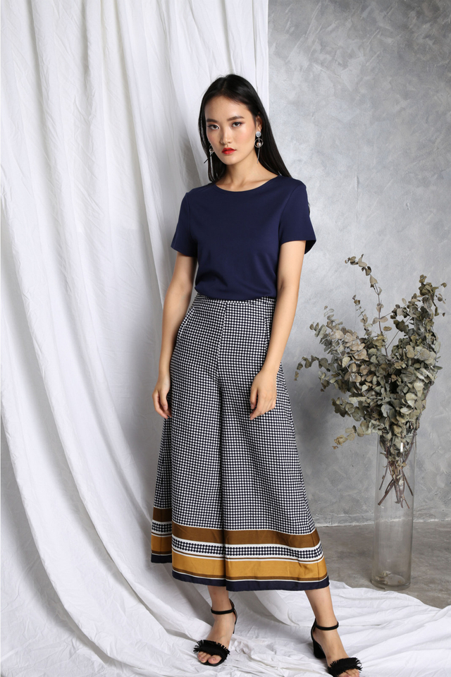 Natalia Boho Flare Pants in Navy