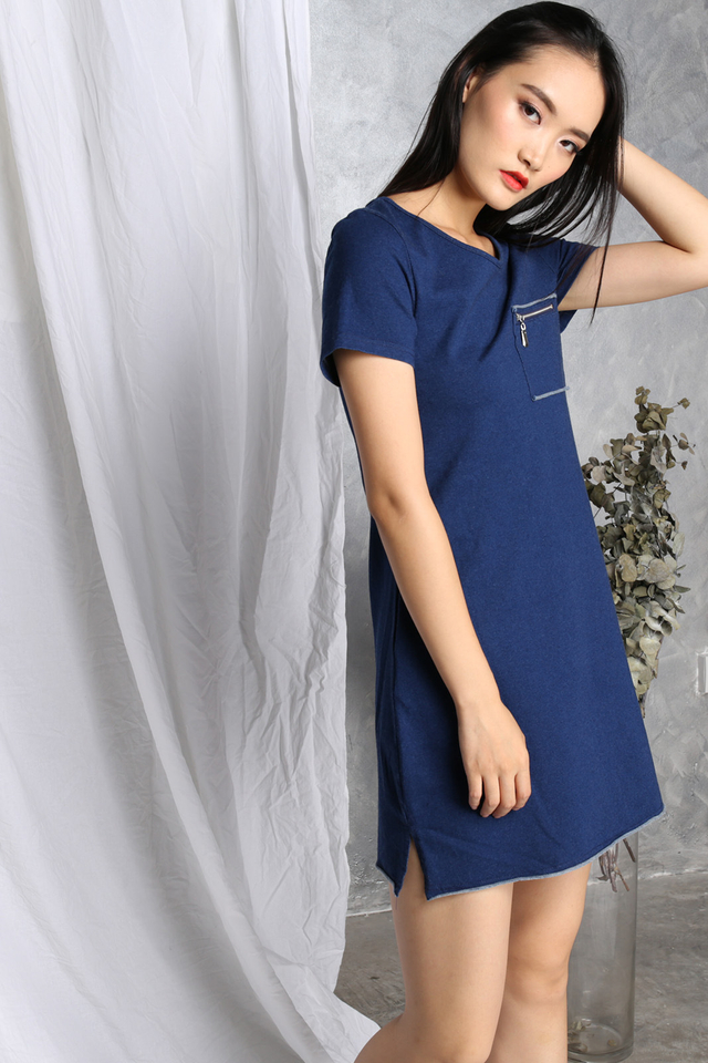 Naya Pocket Dress in Blue Denim