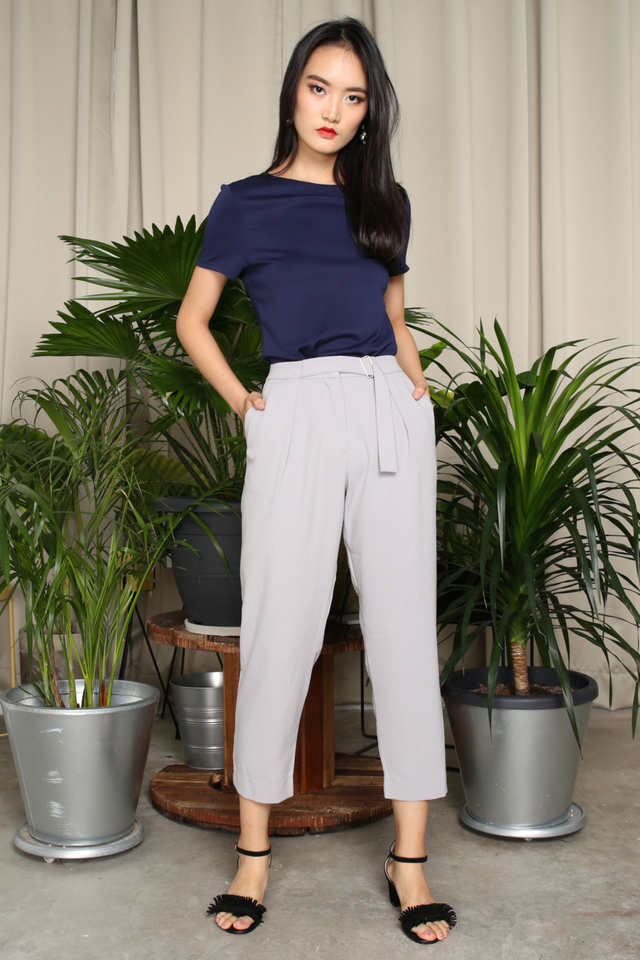 Carol Buckle Work Pants in Grey
