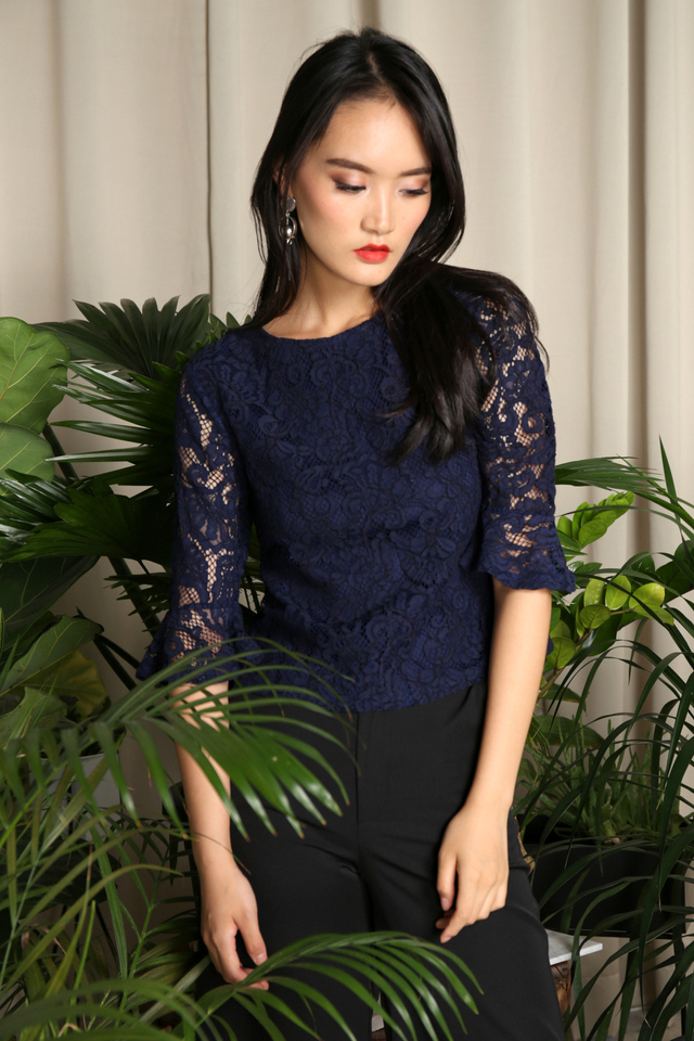 Zaria Lace Bell Sleeve Top in Navy