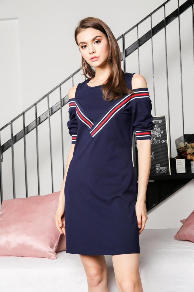 Charis Varsity Cold Shoulder Dress in Navy 3