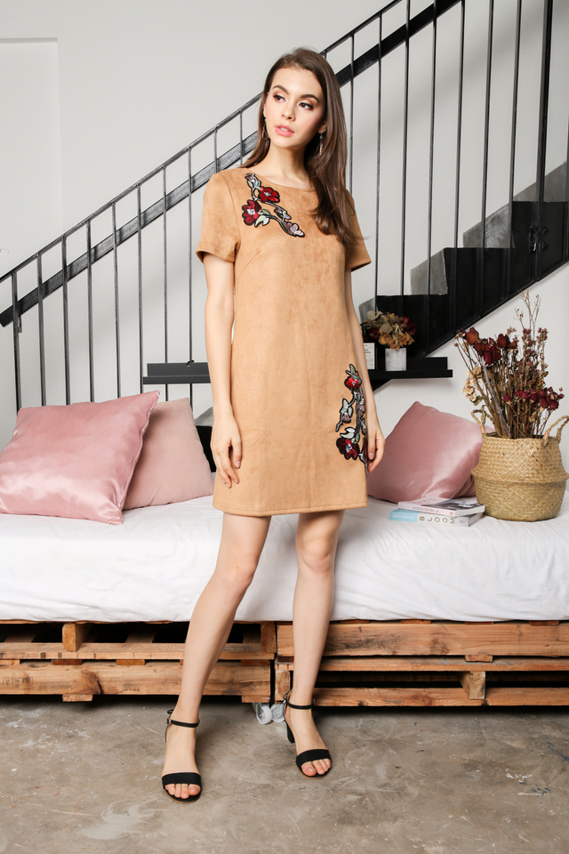 Callie Floral Suede Dress in Camel