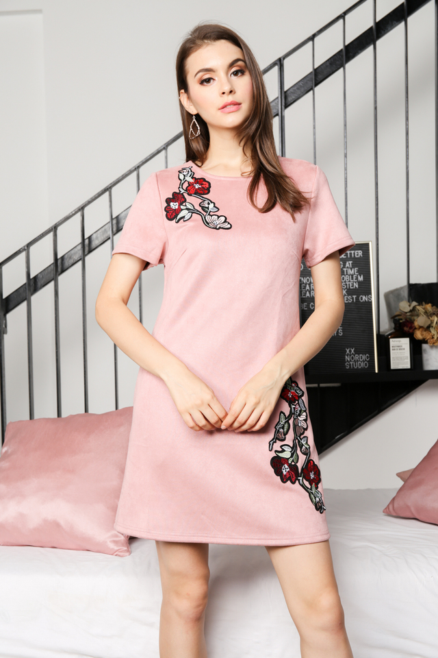 Callie Floral Suede Dress in Pink