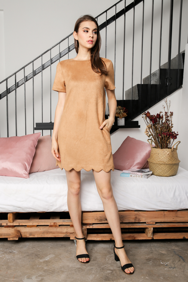 Lily Suede Shift Dress in Brown