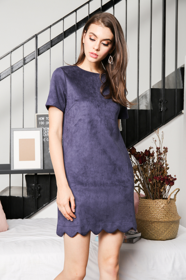 Lily Suede Shift Dress in Navy