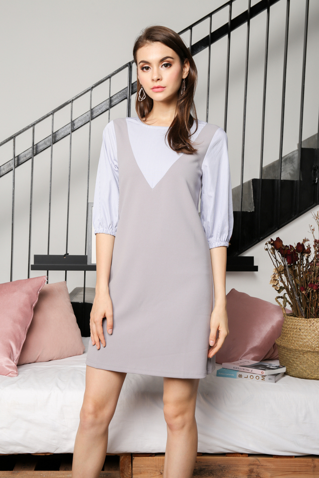 Belva Faux Pinafore Dress in Grey