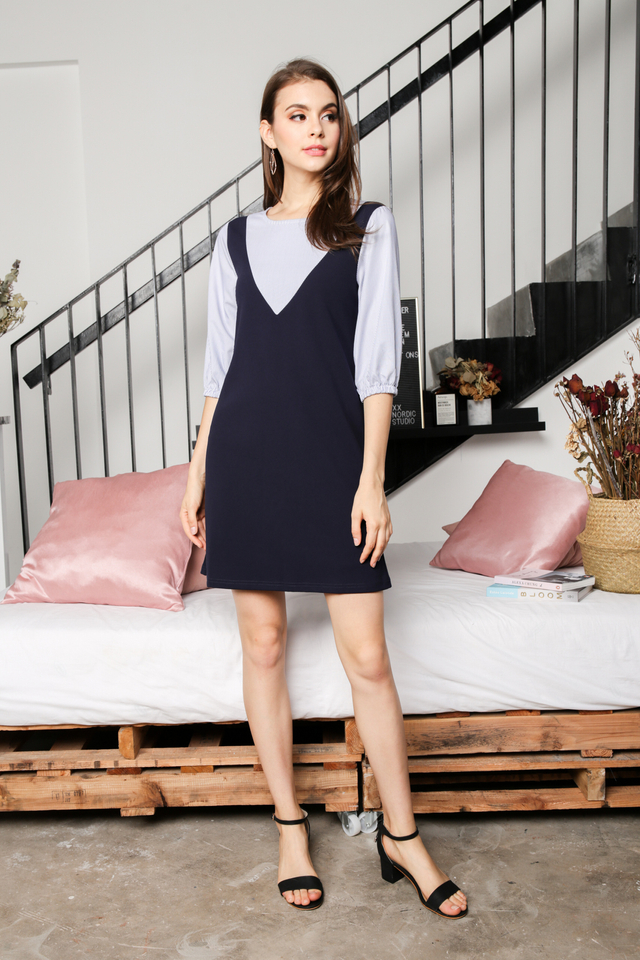 Belva Faux Pinafore in Navy Blue