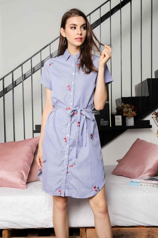 Athena Floral Shirt Dress in Blue