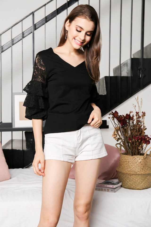 Celeste Balloon Tiered Sleeve Top in Black