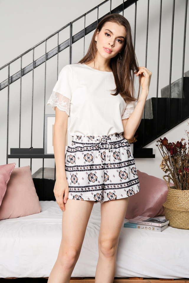Adelina Boho Shorts in White