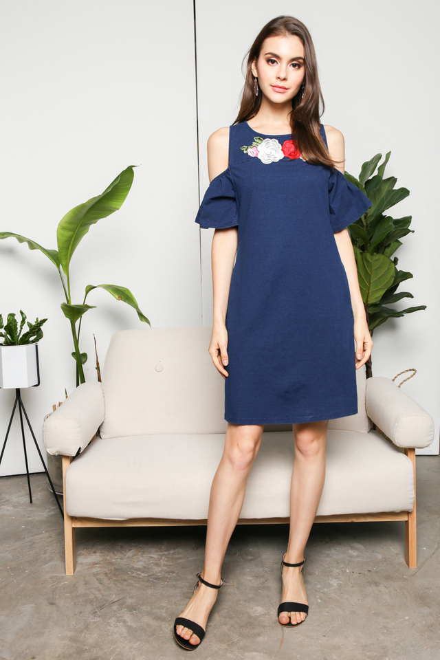 Gracie Cold Shoulder Dress in Denim
