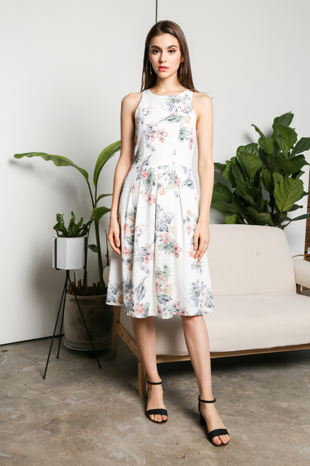 Chiara Pleated Midi Dress in Multi Florals